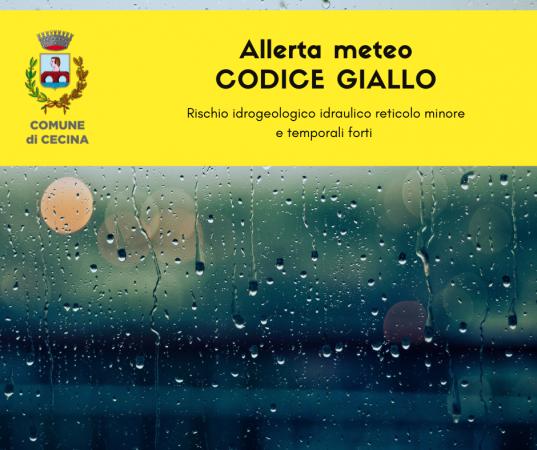 Allerta meteo codice giallo per pioggia e temporali
