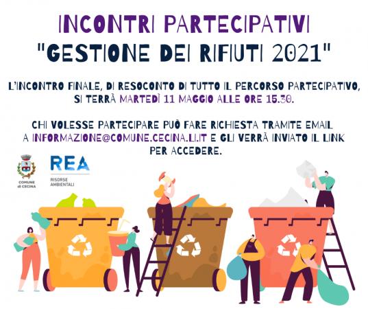 """Incontri partecipativi sulla """"Gestione del servizio rifiuti 2021"""""""