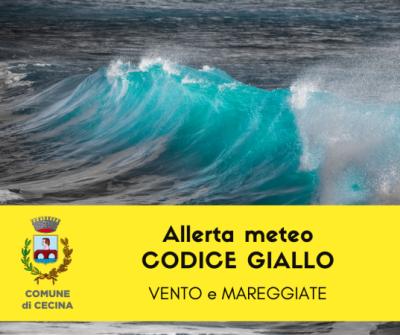 Allerta meteo codice giallo per vento e mareggiate
