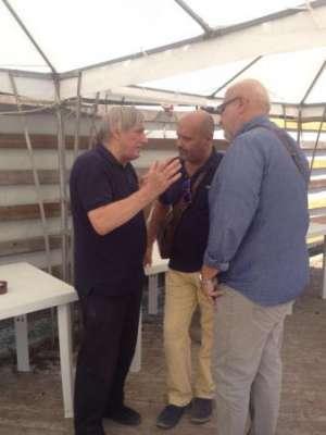 Don Luigi Ciotti con sindaco e vicesindaco